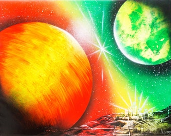 Spray paint art Orange Green giant planets Space painting Original abstract acrylic painting wall art on canvas Modern Art Abstract Painting