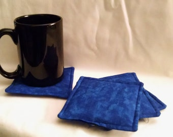 Blue Fabric Coasters - Set of Four - Ready to ship!