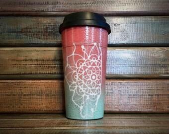 Glitter Ombre Illinois Mandala and Lace Coffee Mug