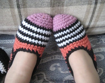 Gift for women, house slippers, crochet slippers, women slippers, organic cotton slippers, women gift