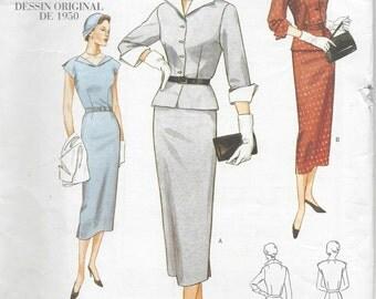 "1950 Vintage VOGUE Sewing Pattern B34""-36""-38"" DRESS & JACKET (R410)  Vogue 2402"