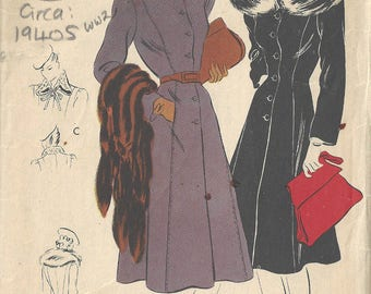 1940s WW2 Vintage VOGUE Sewing Pattern B34 COAT (1816) Vogue 8442