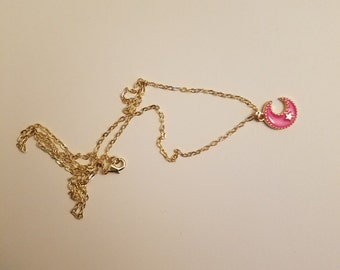 Moon necklace Kawaii necklace Hot pink necklace
