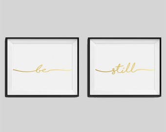 "Set of two real foil prints ""Be"", ""Still"" Bedroom Wall Art, Gold Home Decor, Gold Bedroom Decor, Typography, Housewarming Gift"
