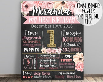 First Birthday Chalkboard, Floral Chalkboard Sign, 1st Birthday Chalkboard, Girl First Birthday Chalkboard, Floral Birthday Sign