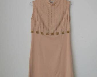 Peach Salmon short dress 70s style high collar