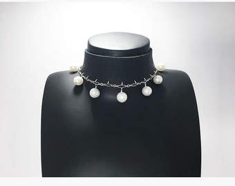 Edgy Leather Pearl Necklace