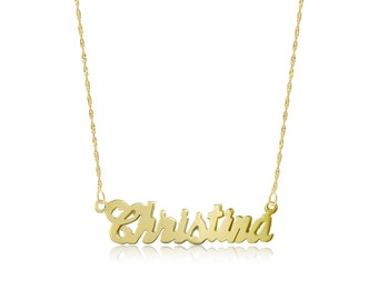 14K Solid Yellow Gold Personalized Custom Name Pendant Singapore Chain Necklace Set - Polished Cursive Alphabet Letter Charm