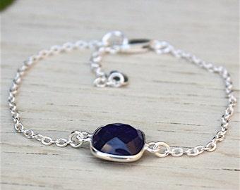 Bracelet stone sapphire blue color on chain: bracelet by foryoujewels
