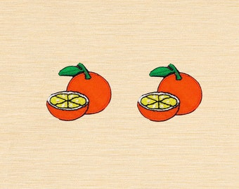 Set of 2 pcs Mini Orange Fruit Iron On Patches Sew On Appliques