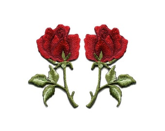 A Pair Of Beautiful Red Rose Roses Flower Bouquet Iron On Patches Sew On Appliques