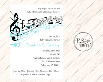 Music Notes Baby Shower Invitation, Musical Baby Shower Invitation, Music  Notes Invitation, Music