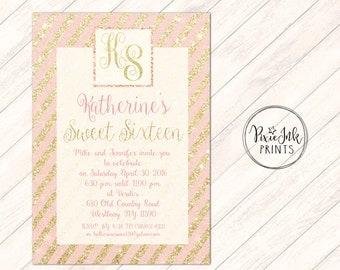 Pink & Gold Sweet 16 Invitation, Pink and Gold Birthday Invite, Glitter Birthday Invitation, Gold Sparkle Invite, Pink and Gold Sweet 16