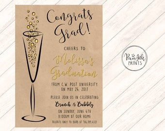 Bubbly Graduation Invitation, Kraft Paper Graduation Invitation, Class of 2017 Invitation, Graduation Printable, Kraft and Gold Graduation