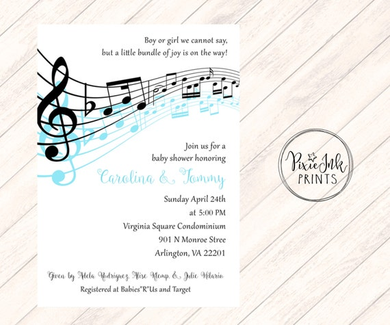 music notes baby shower invitation musical baby shower invitation