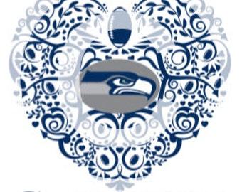 Seattle Seahawks Ornate Heart SVG File