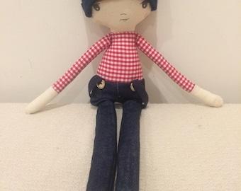 Little boy red tartan doll