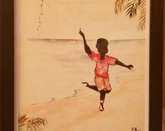 Framed A4 Caribbean Watercolour Print- Boy with the Kite. Wall Art Decor, Limited Edition