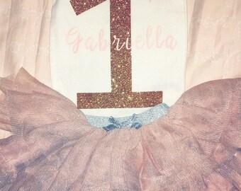 Custom glitter birthday onesie