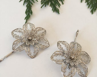 Silver Rhinestone Filagree Flower Blossom Hair Pins | Set of 2 Hair Pins | Elegant Bridal Accessories | Romantic Classic Wedding Style