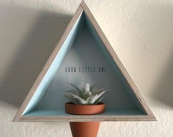 Grow Little One // Triangle Shelf // Geometric Shelf // Nursery Decor