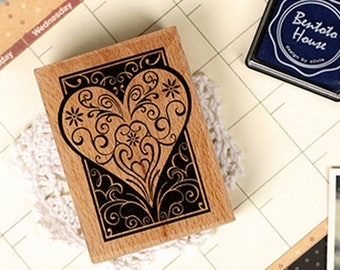 Wooden stamp heart vintage style