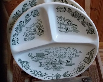 Two green and white transferware divided plates from Royal China.  Scenes are farm/ country.