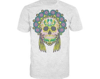 Sugar Skull Head Dress Skull Men's T-shirt Heather Grey