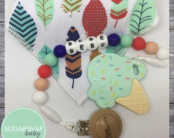 Gift Set - Bandana Bib & Ice cream Teether - chew beads- silicone teether - organic cotton feather bib - matching set! Newborn gift set