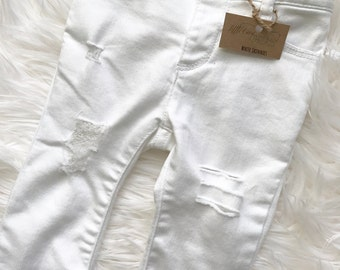 White Skinnies, white distressed jeans, white jeans for baby, white jeans for toddler