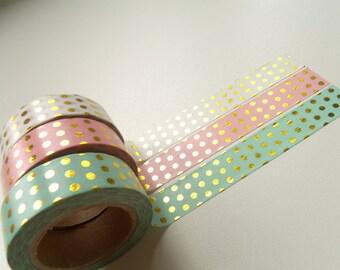 Masking Tape Washi Tape tape Seagreen dots gold 10 m
