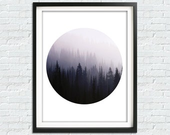 Forest Print, Forest Fog Print, Minimalist Wall Art, Nordic Nature, Mist Forest, Forest Prints, Forest, Forest Landscape Print, Foggy Forest