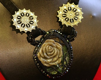 Rose, changed to stone - dark beaded necklace with carved jasper (gothic)