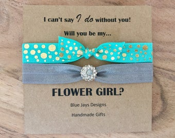 Will You Be My Flower Girl, I Cant Say I Do Without You, Bridesmaid Gift, Hair Ties, Hair Accessories, Ask Flower Girl, Proposal Gift