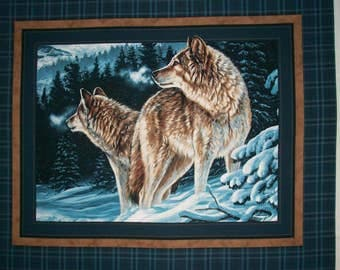Winter Wolf Wolves on Blue Quilt Panel Wallhanging Fabric OOP