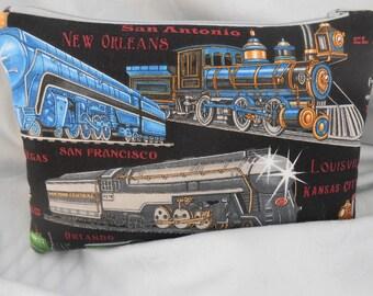Train Pencil pouch, Locomotive Pouch, Railroad Pouch,  Child Train Engine Organizer, Zippered Organizer, Pencil Pouch, Locomotive Pouch