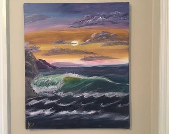 """Mystic Sky - wall décor acrylic painting, 20""""x24"""" canvas stretched/wrapped on 5/8"""" bars"""