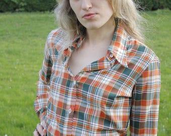 SALE ~ Jolene Vintage c. 1970's Dagger Collar Check Shirt Blouse Kitsch Pin Up Diner Country Rockabilly Western