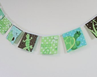 """6'3"""" (1.90m) Fabric Bunting, Animals Bunting, Flag Banner, Doubled Sided,Wall Decor, Party Decor, Kids Decor, Animals Decor, Cake Smash"""