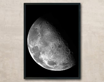 Moon, Moon Photo, Moon Poster, Black and White Photo, Wall Art Printable, Instant Download, Modern Art, Digital Print