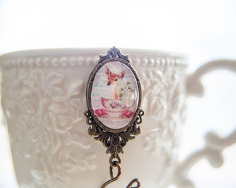 Whimsical Fawn in a Teacup Magnetic Portuguese Knitting Pin