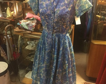 Airy 'Betty Draper' style 1960s blue floral Dress