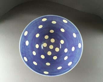 Purple and White Polka Dots Bowl