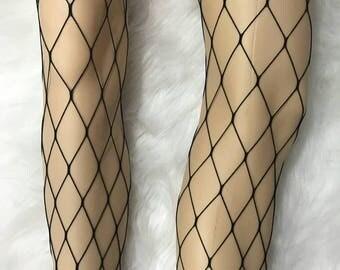 High Waist Large Hole Fishnets