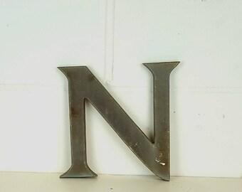 Medium Letter N - Vintage Style - Alphabet - Wall Letter - Sign - Khaki Grey