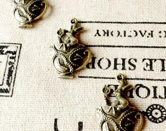 Teacup rabbit charms 3 antique bronze vintage style pendant charm jewellery supplies C154