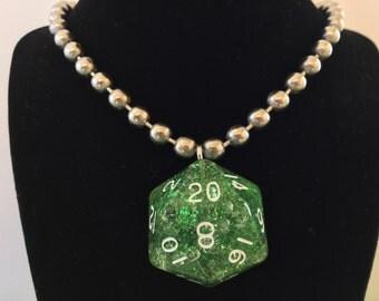 Green Glitter Mega D20 Dice Necklace
