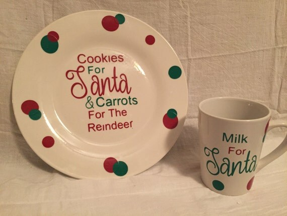Santa Cookie Plate and milk cup
