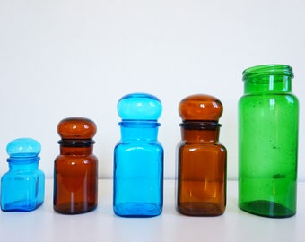 5 colorful vintage glass jars