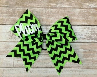 Chevron Cheer Bow, Cheer Bow, Neon green and black cheer bow,  Big Cheer Bow, custom cheer bow,  glitter cheer bow